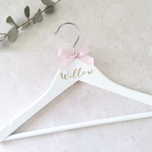 Personalised White Wooden Hanger Childs Size