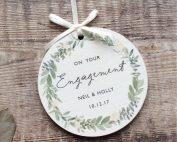Personalised Engagement Wooden Keepsake Decoration
