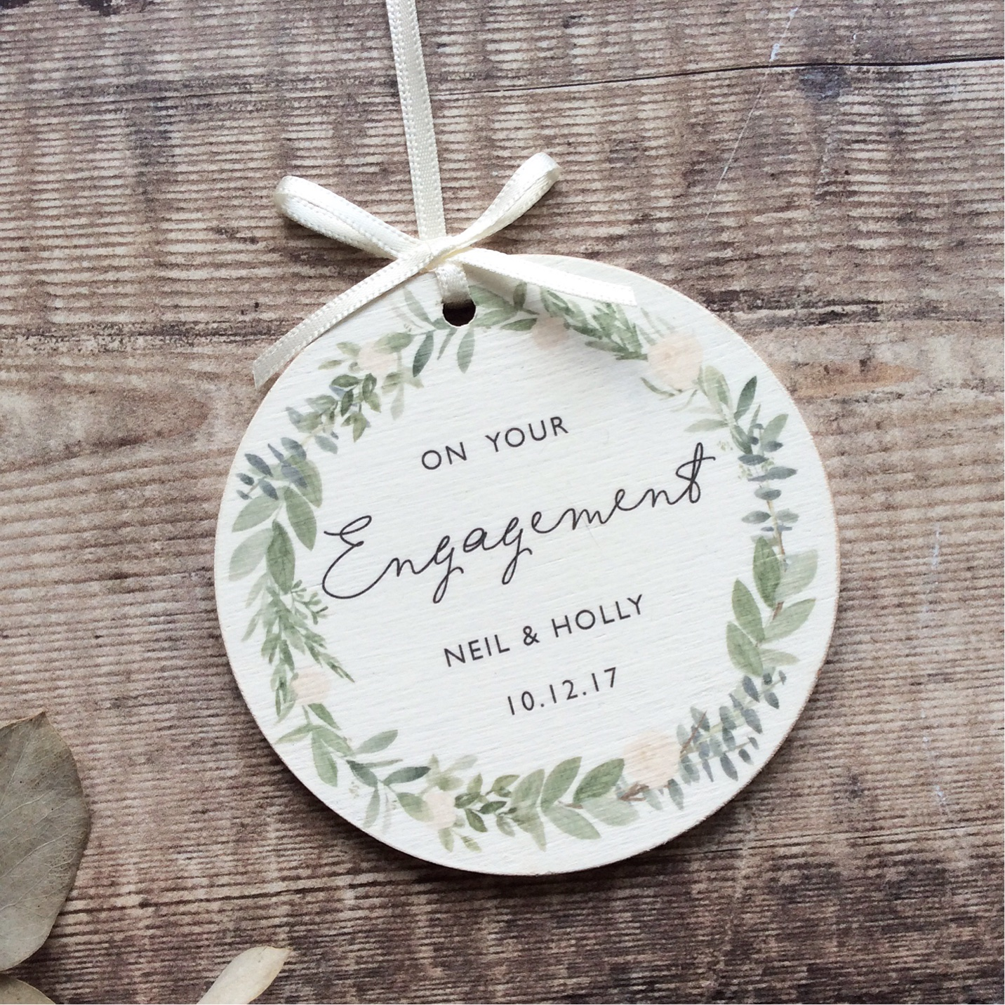 Personalised Engagement Wooden Keepsake Decoration