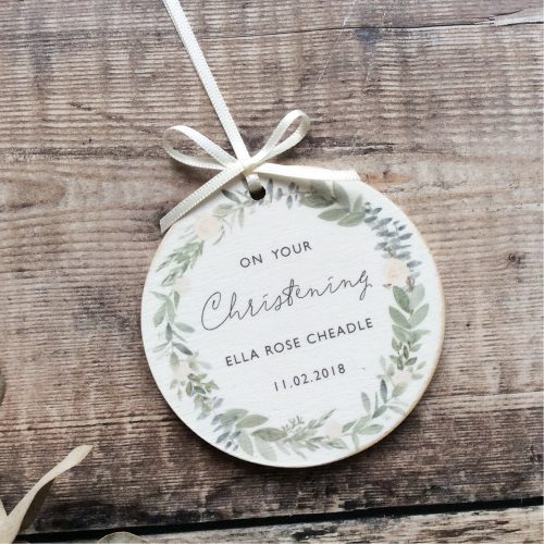 Personalised Christening Wooden Keepsake Decoration