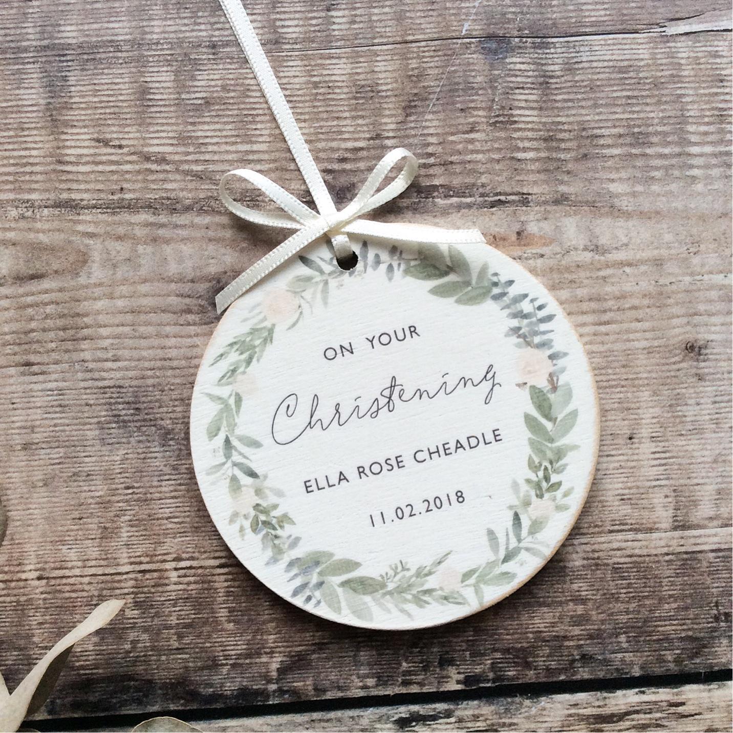 Personalised Christening Wooden Keepsake Decoration