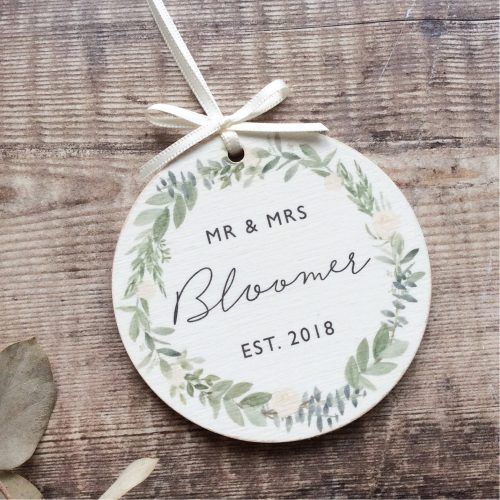 Personalised Wedding Wooden Keepsake Decoration