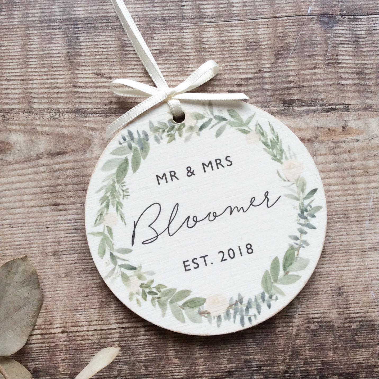 Personalised Wedding Wooden Keepsake Decoration