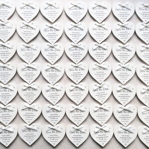 Personalised Save the Date Heart Magnets