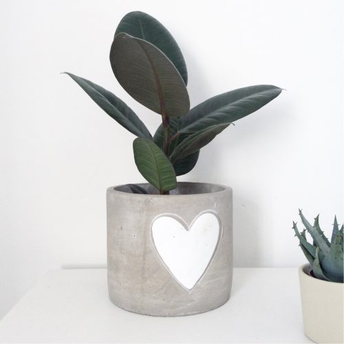 Concrete Plant Pot with Heart