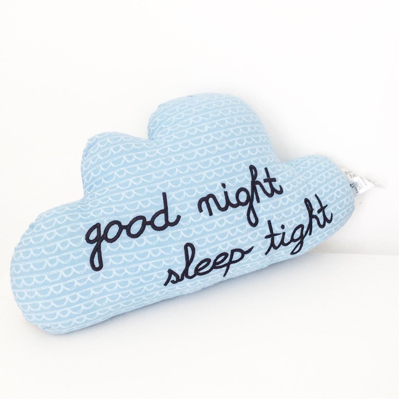 Good Night Sleep Tight Cloud Cushion - Blue