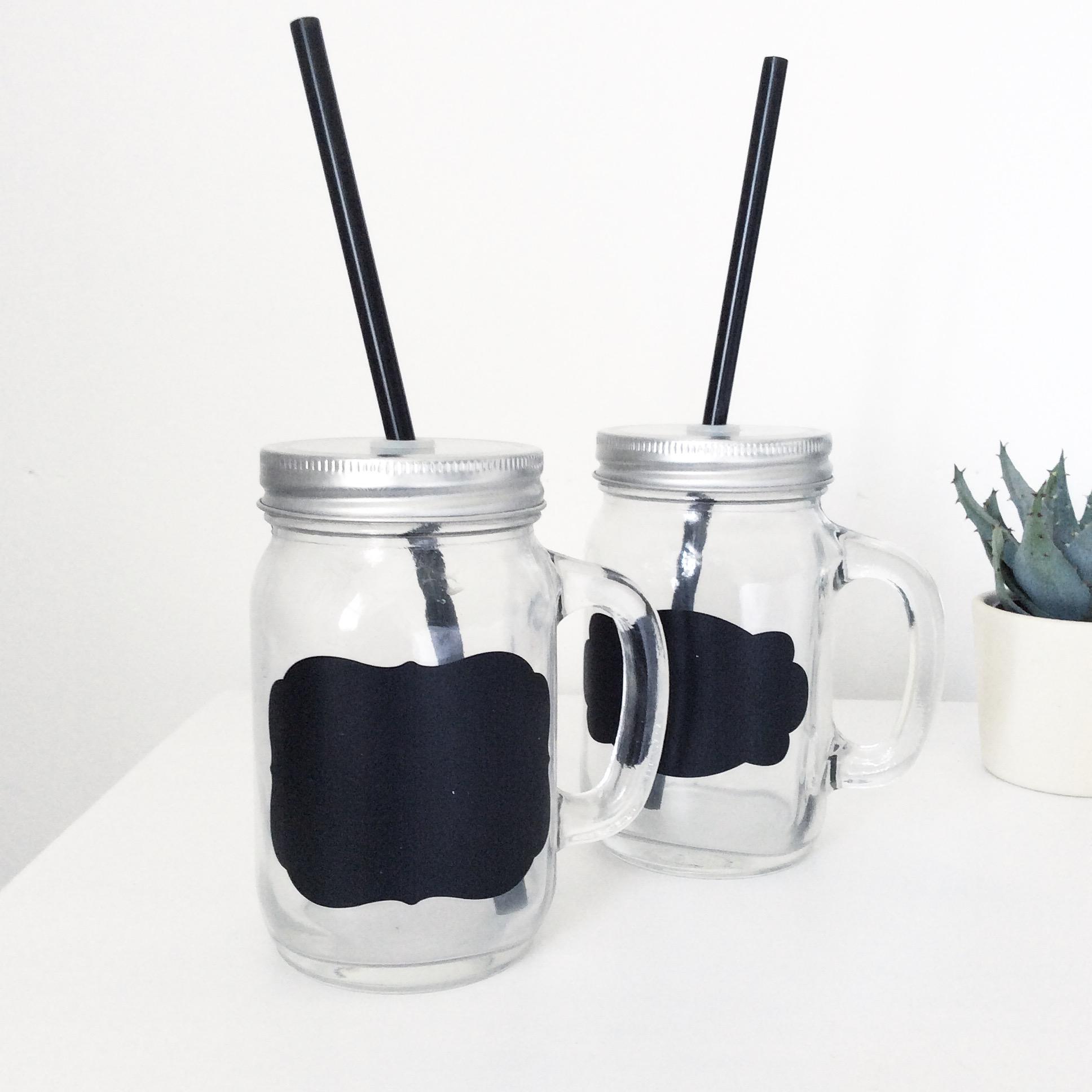 Chalkboard Glass Drinking Jar