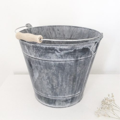 Greywashed Zinc Bucket