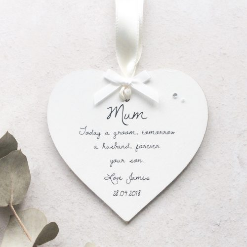 Personalised Mother of the Groom Wooden Wedding Heart