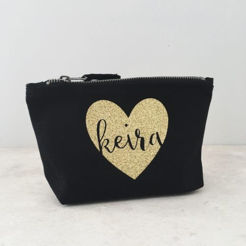 Personalised Black and Gold Makeup Bag