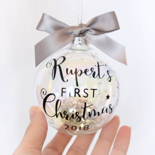 Personalised Baby's First Christmas Luxury Glass Bauble