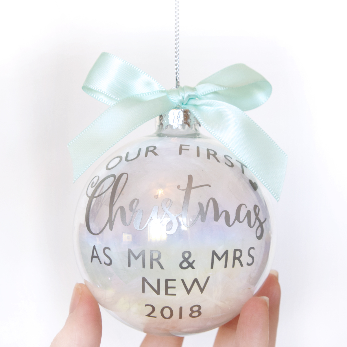Personalised First Christmas as Mr & Mrs Luxury Glass Bauble