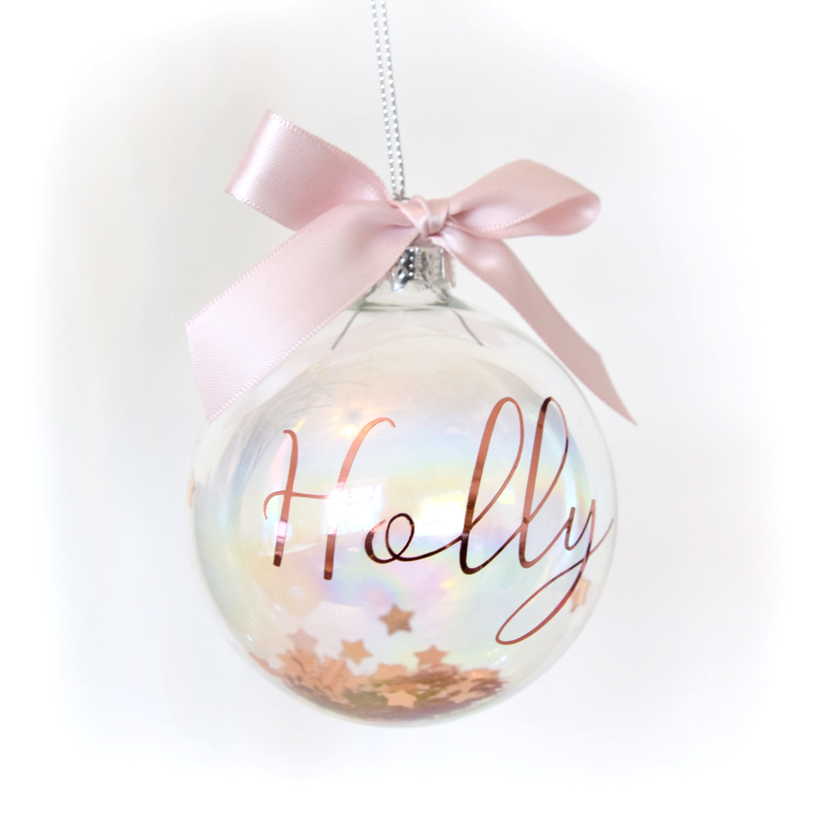 Personalised Rose Gold Christmas Luxury Glass Bauble