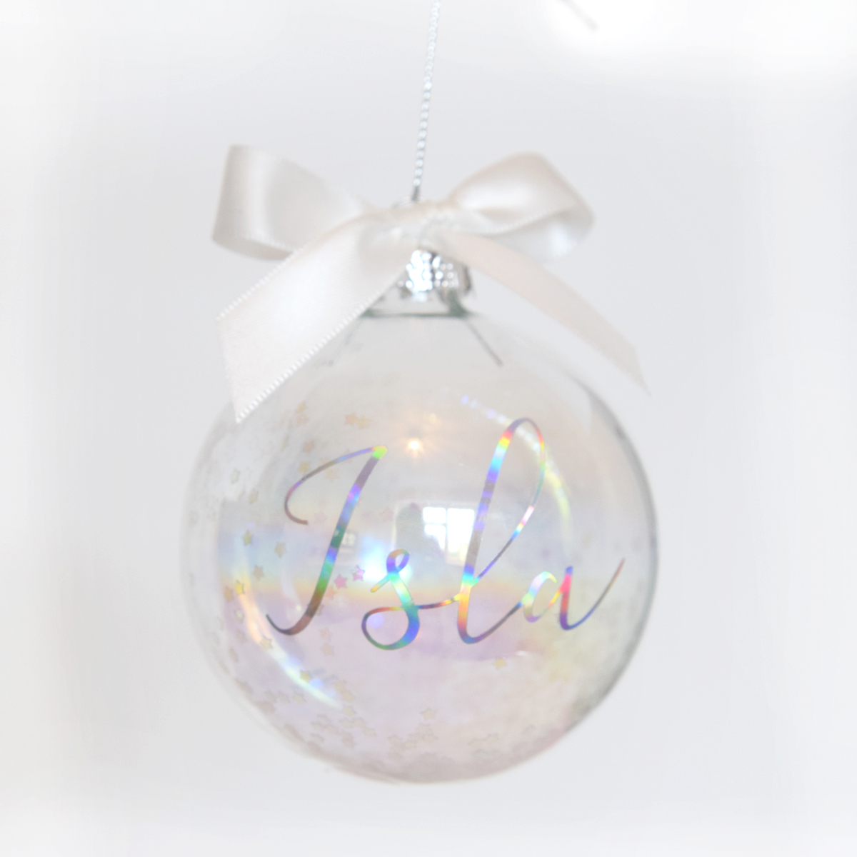 Personalised Iridescent Christmas Luxury Glass Bauble