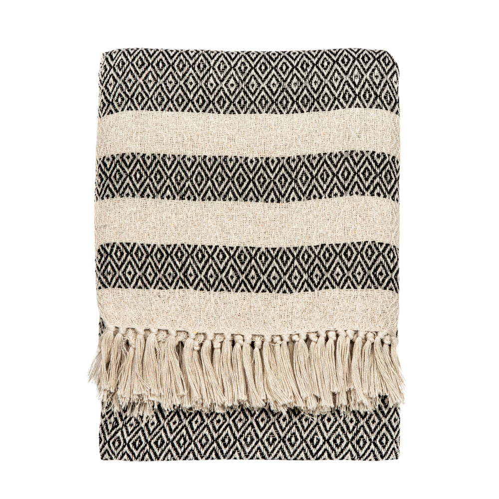 Scandi Boho Tassel Cotton Blanket Throw
