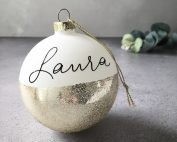 Personalised Gold Glitter Bauble
