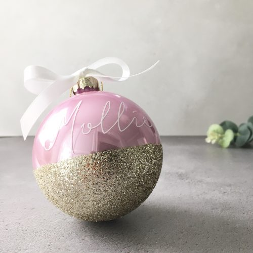 Personalised Pink and Gold Glitter Bauble