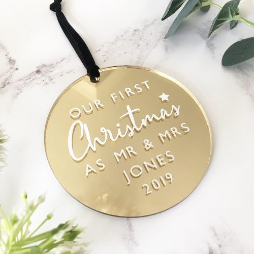 First Christmas as Mr and Mrs Gold Mirrored Bauble