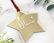 Personalised Christmas Gold Mirrored Star Decoration