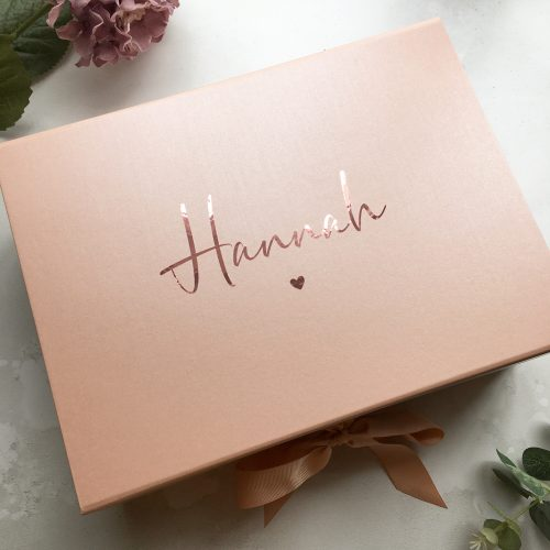 Personalised Large Deep Rose Gold Gift Box