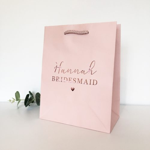 Blush Pink Rose Gold Personalised Gift Bag